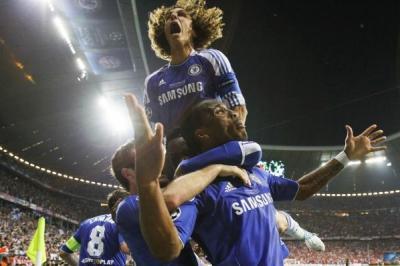 """Звездният миг за футболистите на """"Челси"""" бе още по-емоционален и заради факта, че победиха """"Байерн"""" на собствения му стадион.  Снимка Reuters"""