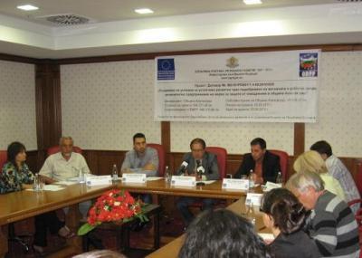 """На заключителна пресконференция кметът Караиванов отчете изпълнението на проекта по ОП """"Регионално развитие"""".  Снимка """"Мега комюникейшън"""""""