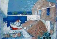 В морските пейзажи на Николай Добрев всичко е синьо - и морето, и небето, и къщите, и оградите, и лодките.