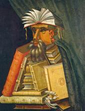 """За афиша на изложбата е избрана картината """"Библиотекарят"""" на известния италиански художник от ХVІ век Джузепе Арчимболдо.  Снимка portal.unesco.org"""